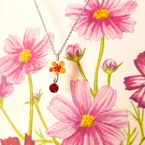 NECKLACE Red Ruby Dry Flower DIY 紅寶石乾花手製項鏈