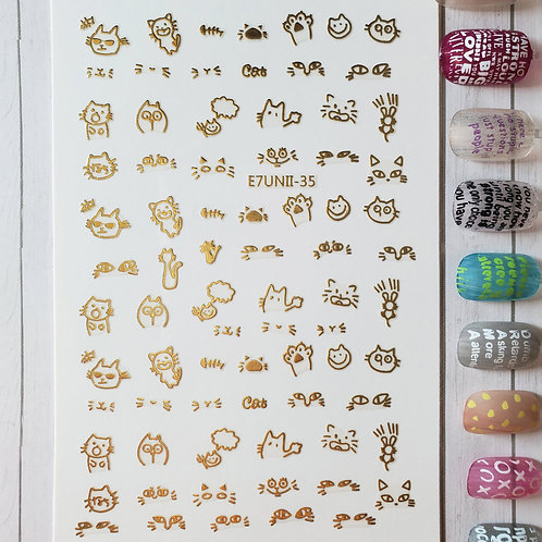 3D Nail Art Stickers Decals Gold #73