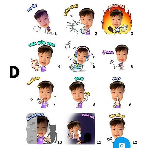 Cute Series Template D1-D12 人像DIY產品素材 D1-D12 (1 piece/1 order)