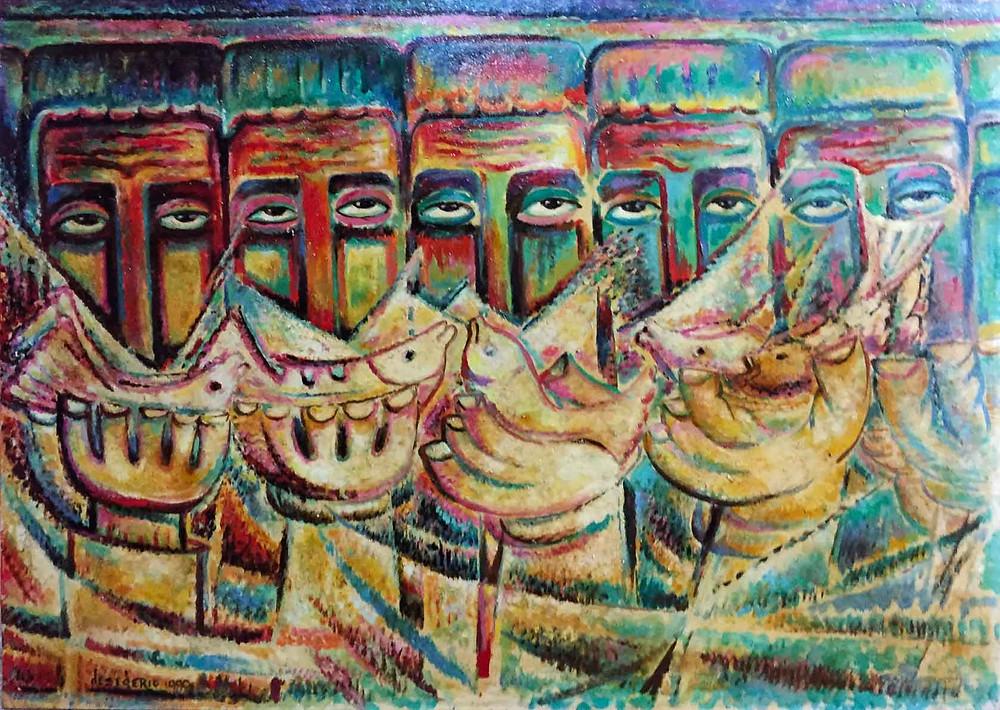 Campesinos comiendo pescado - Desiderio Sánchez