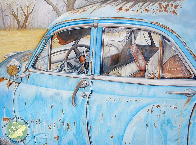 Rusty Car Color Pencil Drawing