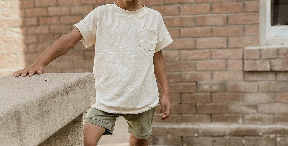 Cream cuffed shirt