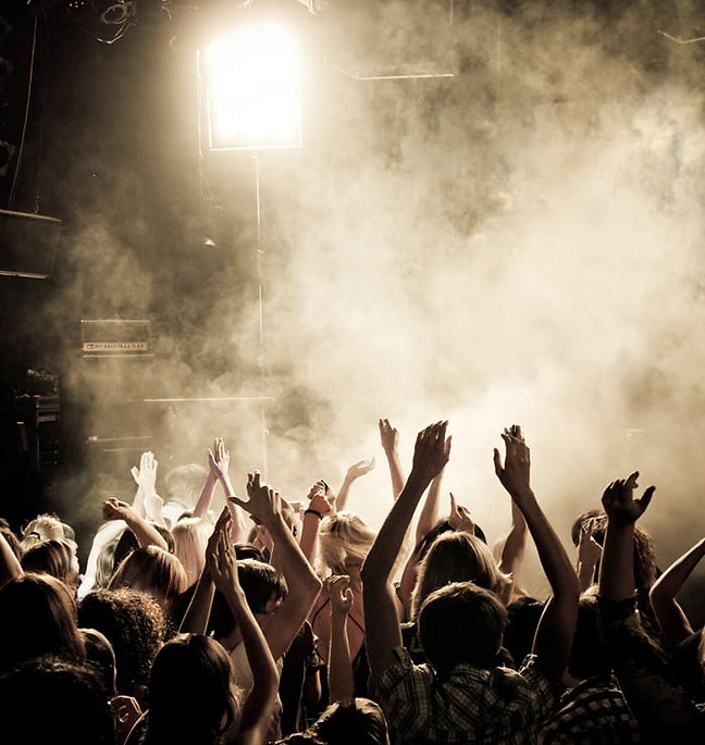Concert and a crowd with hands in the air