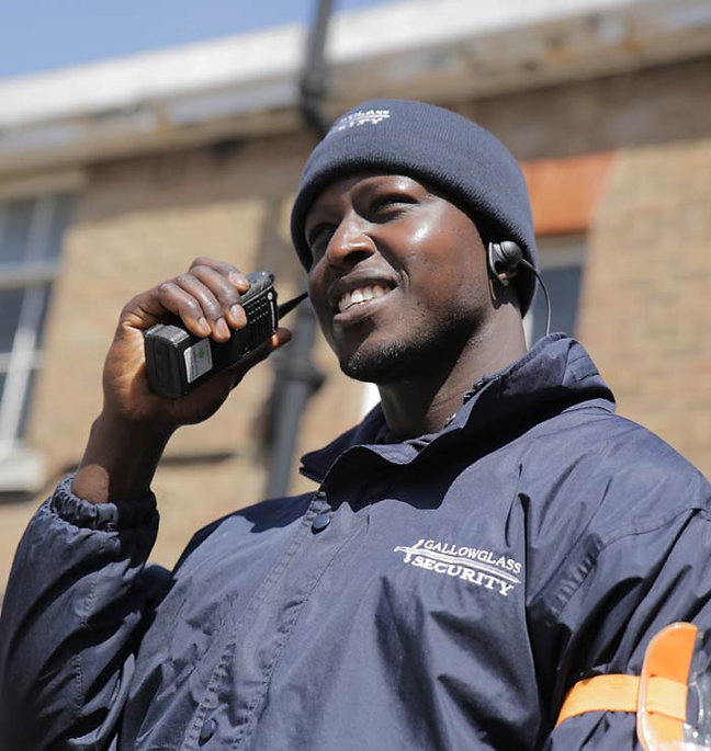 Security guard talking on the radio