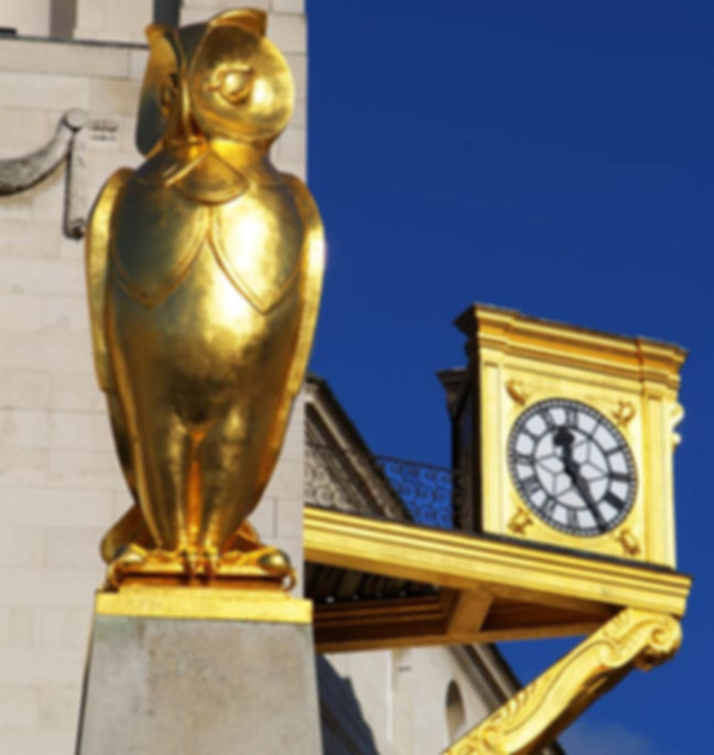 a Golden Owl and Ornate clock