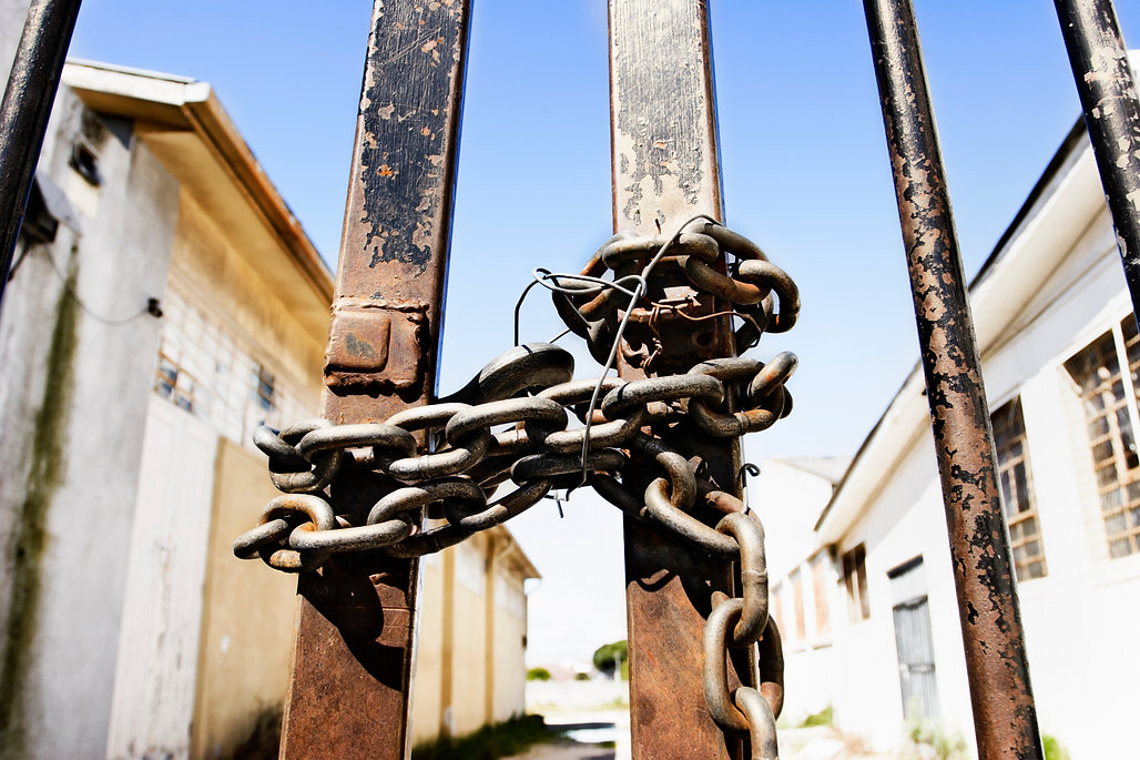 Chained and padlocked iron gates