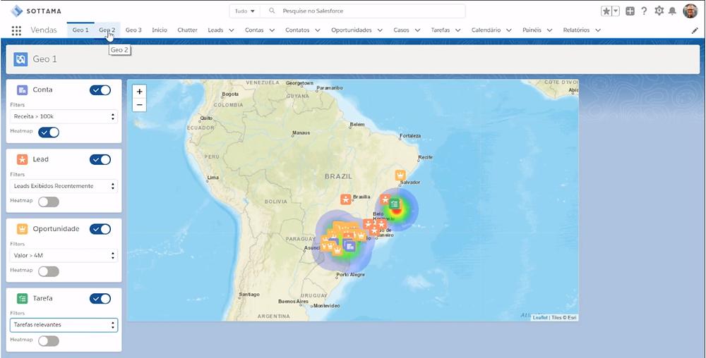 Componente de Geolocalização e Mapa de Calor da Sottama