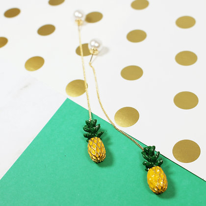 Pineapple Long Chain Drop Earrings