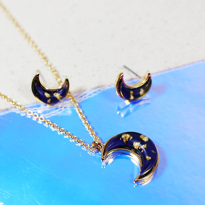 Foil Moon Necklace & Earrings SET