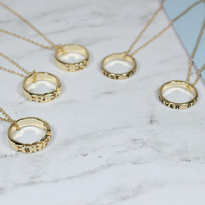BFF Cutout Ring Necklaces