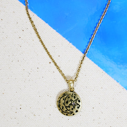 Moon & Star Stamp Necklace
