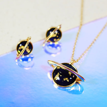 Saturn Necklace & Earrings SET