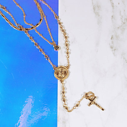 Guadalupe&Cross Layered Necklace