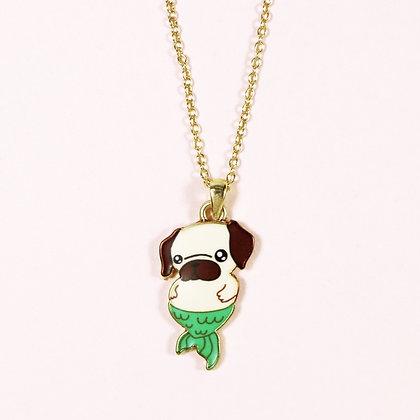 Shy Pug-Mermaid Necklace