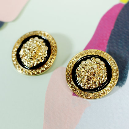 Round Lion Earrings