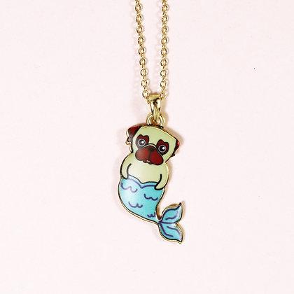 Pug-Mermaid Necklace