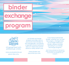 Instagram post created alongside a poster and other social media posts for You're Welcome's binder and bra exchange for trans youth campaign.