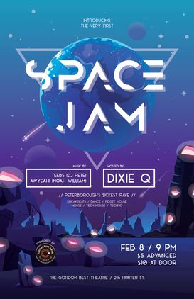 Event poster created for a local dance night.