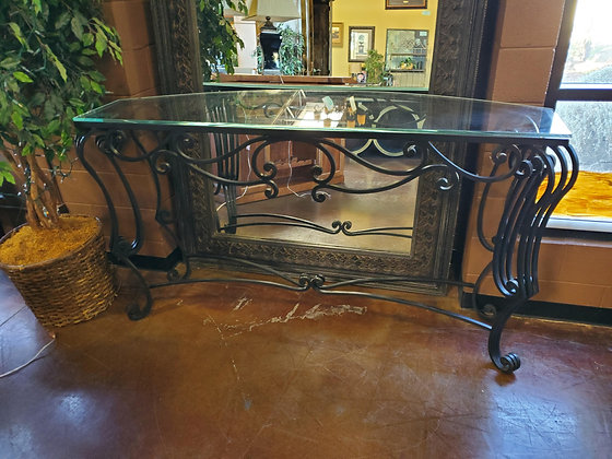 Large Iron And Glass Sofa Table - Scottsdale