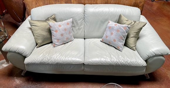 Natuzzi Mint Leather Sofa
