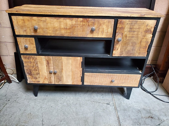 Rustic Media Chest Black And Natural Wood - Scottsdale