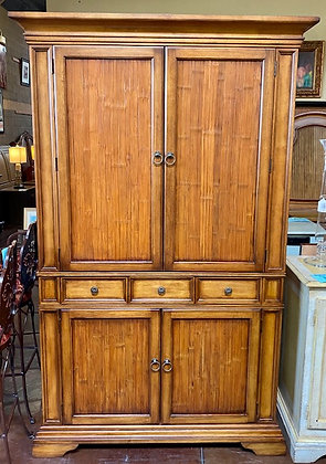 Entertainment Armoire with Rattan Panels