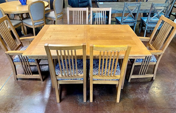 Mission Style Dining Table with 6 Chairs and Leaf