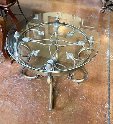 Round Glass Top End Table with Ornate Metal Base