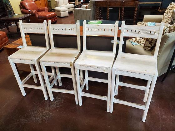 Set Of 4 Solid Wood White Washed Barstools - Scottsdale