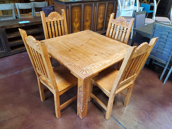 Rustic Pine Dining Table W/4 Chairs - Scottsdale