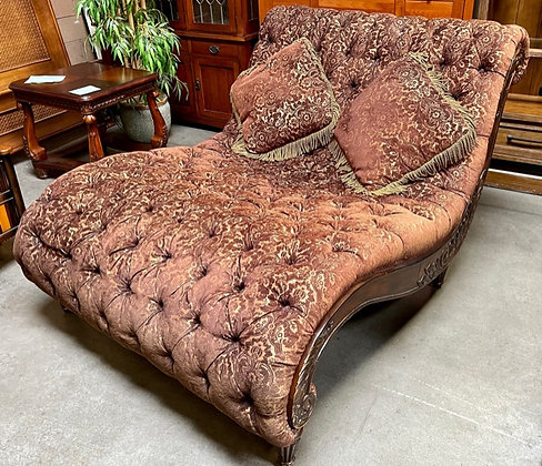 Large Tufted Chaise with Accent Pillows