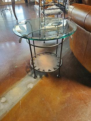 Glass Top End Table W/Metal Base - Scottsdale