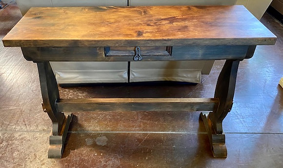 Rustic Wood Sofa Table with Small Drawer