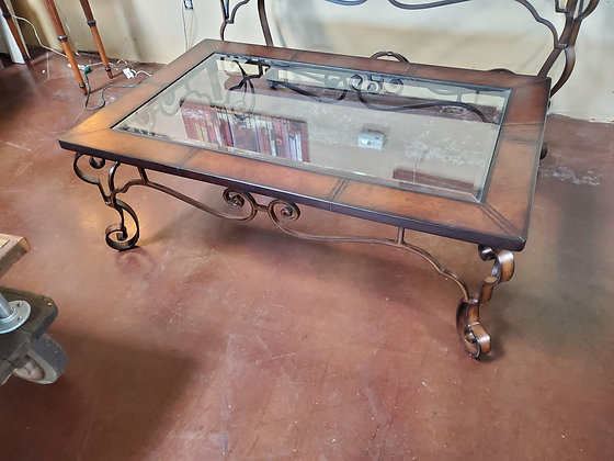 Leather Trim Glass Insert Coffee Table - Scottsdale