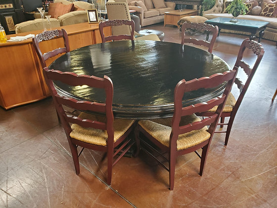 Drexel Black Distressed Dining Table W/6 Red Chairs - Scottsdale