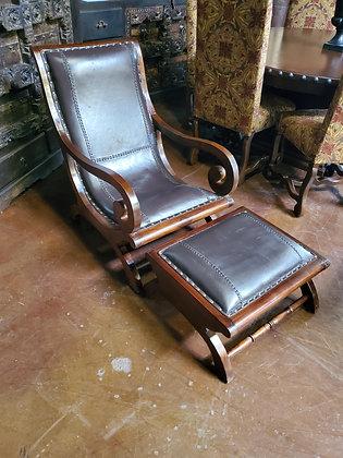 Black Leather Chair W/Ottoman - Scottsdale