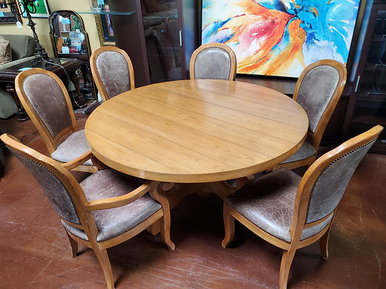 Drexel Heritage Dining Table W/6 Leather Chairs - Scottsdale