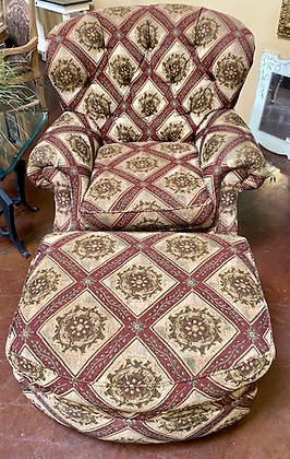 Traditional Pattern Tufted Accent Chair with Ottoman