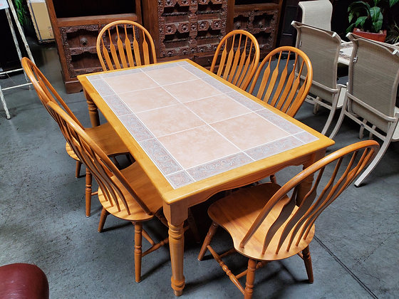 Oak Dining Table With Tile & 6 Chairs - Scottsdale