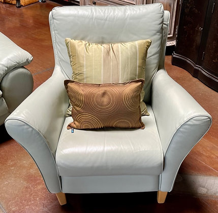 Natuzzi Mint Leather Armchair with Blonde Feet