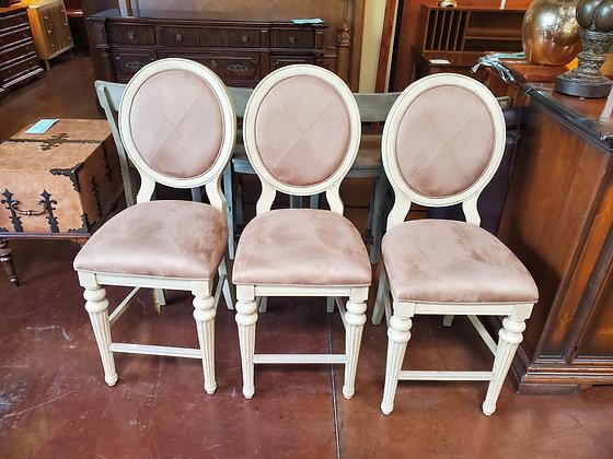 Set Of 3 Fabric And Wood Barstools - Scottsdale