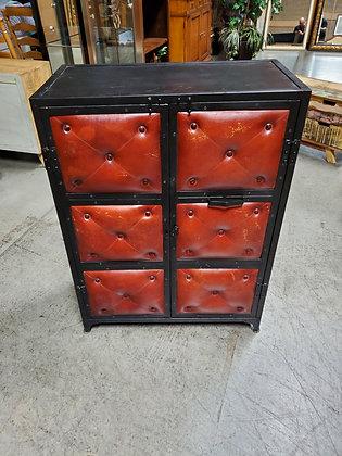 Metal Storage Cabinet W/Red Leather - Scottsdale