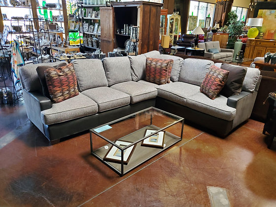 King Hickory Gray Down Fabric Sectional - Scottsdale