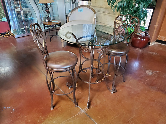 Glass Top Pub Table W/2 Barstools - Scottsdale
