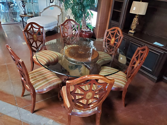 Thomasville Round Glass Top Dining Table W/6 Chairs - Scottsdale