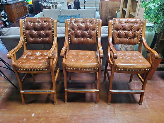 Set Of 3 Leather Barstools W/Nailheads - Scottsdale