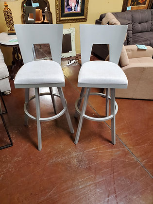Set Of Two Silver Metal Barstools - Scottsdale