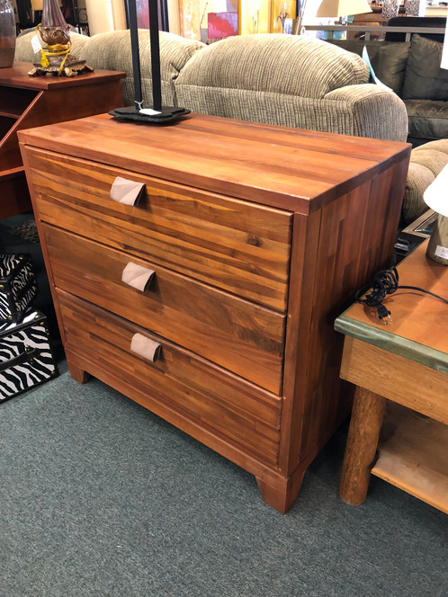 Beautiful Solid Wood 3 Drawer Chest With Fabric Handles