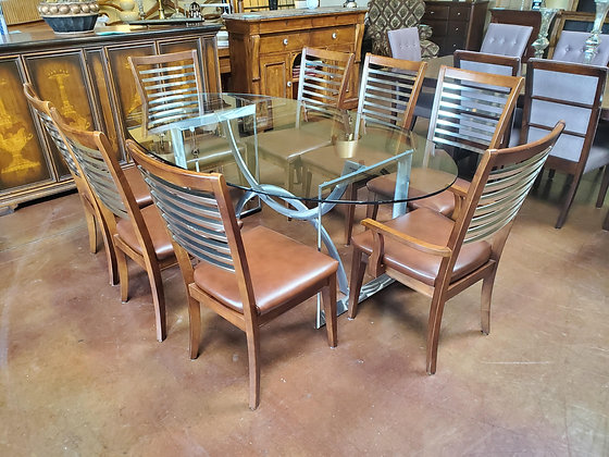 Modern Glass Top Dining Table W/8 Bassett Chairs