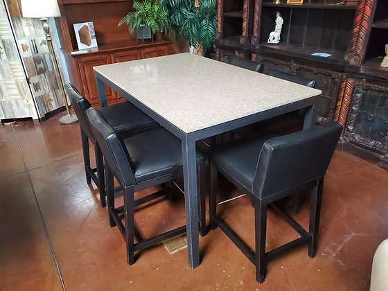 Room &  Board Pub Table W/6 Leather Chairs